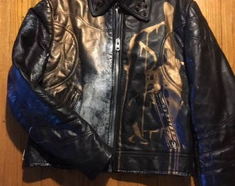 Hand-painted vintage black leather jacket