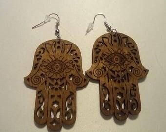 Wooden Evil Eye Earrings ( 1 pair)