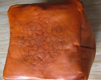 MOROCCAN POUF GENUINE henna color