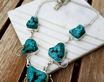 Genuine Turquois Necklace set in Sterling Silver Overlay over Copper 18""