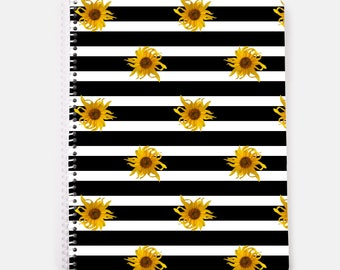 Floral notebook, sunflowers on black and white stripes, spiral notebook, 60 lined pages