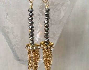 Faceted Hematite and Gold Chain Drop Earrings