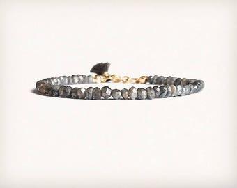 Labradorite bracelet with tiny tassel