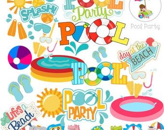 Pool party, Pool party clipart, party pool, pool party idea, clip art, design pool party, birthday, party, instant download, pool party png