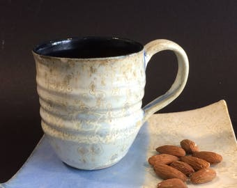 Opal and navy blue mug