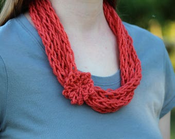 Three Strand Finger Knitted Scarf with Flower