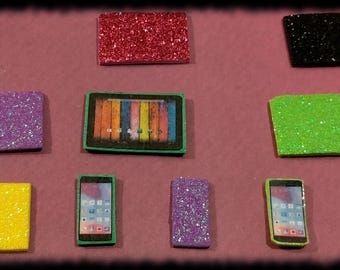 Littlest Pet Shop LPS Custom Accessories -  Glitter Sparkly Tablet & Phone 2 pc Set w/ Gift Bag