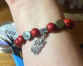 Silver and Red Owl Bracelet