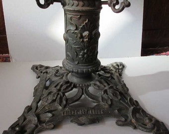 Art Nouveau Tree Stand Vintage Germany Uncommon Cast Iron Large Christmas Irises Angels
