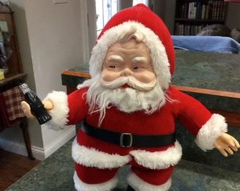 Vintage 1988 Coca Cola Rushton's Rubber Face Santa Doll 17 Inches Tall