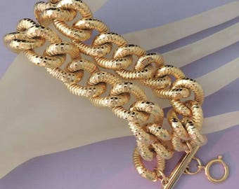 FASHION LITE Vintage Bold Double Chunky Chain Link 22kt Gold Plated Bracelet / Gold Chain Bracelet / Fashion Bracelet / Wedding Bracelet