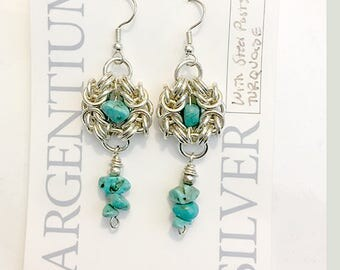 Argentium Silver Byzantine Silver Nest Knot and Turquoise Earrings