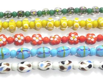 "16"" each Destash 5 string  lampwork Beads handmade / beading craft/jewelry craft/craft supplies/jewellery making"