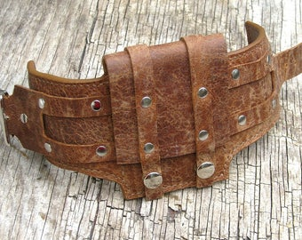 Wrist Wallets for bikers, travelers, Leather Cuffs for Men and Women - Rustic Brown - MADE TO ORDER Wristband