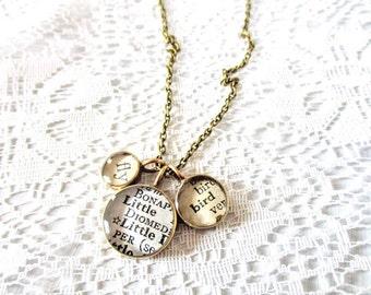 fly little bird necklace, brass necklace