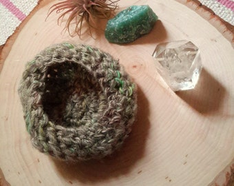Rough Woodlands Decorative Bowl - hand dyed, hand spun crocheted catch-all bowl in browns, greens, natural wool