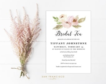 Bridal Tea Party Invitation INSTANT DOWNLOAD |  Editable Bridal Shower Invite Template | watercolor, blush pink, spring | Tiffany | PDF