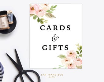 Floral Cards and Gifts Sign   Wedding, Bridal Shower, Baby Shower   Pink, Instant Download   Tiffany Collection   PDF Instant Download