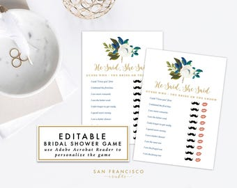 EDITABLE He Said She Said Game   Bridal Shower Game, Bachelorette Party Game    Diana Collection   Printable, Instant Download PDF file, diy