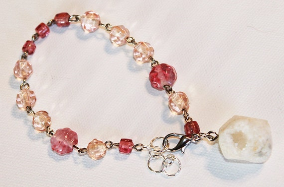 Pink Glass Beaded Bracelet with Large Druzy Rock - Silver Chain Bracelet - OOAK