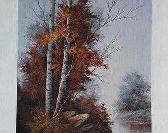 By the river, Birch landscape, Fine Art Giclee, FINE ART PRINT,  print with artist brushwork in acrylics