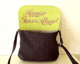 Optimism Denim and Leather Crossbody Bag