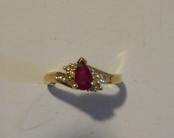 14K Gold Ruby and diamonds Ring Engagement ring January birthday stone