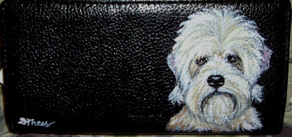 Dandie Dinmont Terrier Dog Hand Painted Women's Leather Wallet