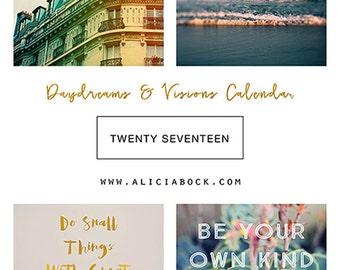 2017 Calendar - Daydreams and Visions - Fine Art Calendar - Typography - Type - Text - Inspirationa Quote - Alicia Bock - Horse - Sea - Snow