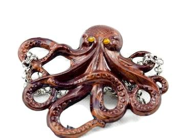 Paul - Brown and Black Handpainted Octopus
