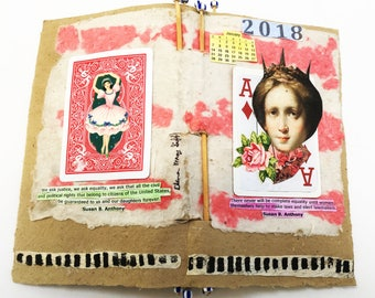 Dynamic Dames Book Two, art book, handmade paper, calendar book,women's issues, political book, OOAK book,book of quotes by Susan B. Anthony