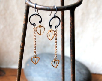 Heart Earrings - vintage brass cage heart earrings - Bohemian Jewelry - Valentine's Day Jewelry