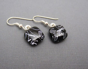 Silver black fireworks dichroic glass earrings sterling silver ear wires petite lightweight dangle drops fused glass jewelry
