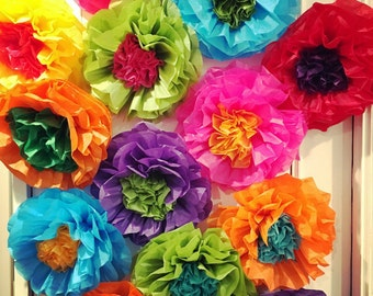 Mexican Tissue Paper Flowers Photo Wall Wedding Fiesta Decorations - Set of 10
