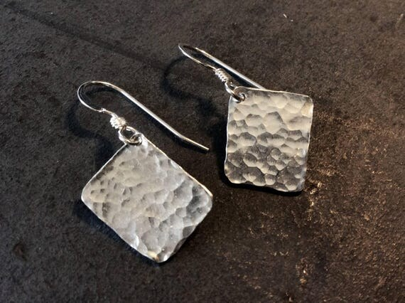 Hammered sterling silver rectangular minimalist earrings - made to order