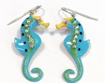Seahorse Earrings Fun Hand Painted in Turquoise and Lime Green