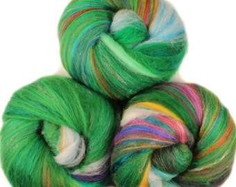 Chrysalis  - classic batts -- (4.3 oz.) organic polwarth wool, bamboo, silk, sparkle.