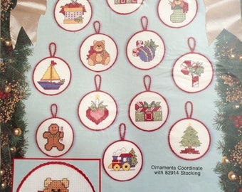 Vintage Bucilla Counted Cross Stitch Kit-Santa's Toys-12 Ornaments-#82954, New, Sealed, OOP
