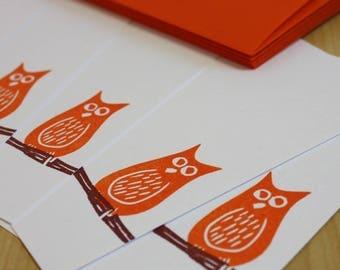 Orange Owl Stationery Set - Owl Note Cards - Bird Note Cards - Owl Flat Notes - Hand Printed Flat Note Stationery - Set of 6