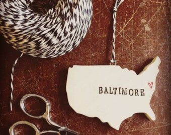 Baltimore Pottery Ornament - Baltimore, Maryland - 2-3 Weeks for Delivery