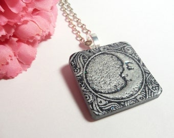 Silver Moon Pendant, Celestial Jewelry, Optional Moon Necklace, Crescent Moon, Moon and Stars, Handmade Moon Charm, Man in Moon Polymer Clay