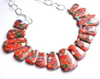 Reina -Red Multi Color Statement Bib Necklace