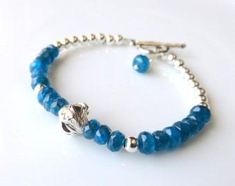 Apatite Sterling Silver Bracelet, Bright Blue Dainty Beaded Gemstone Jewelry,Delicate Gemstone Jewelry,Apatite Fashion Bracelet,Gift for Her