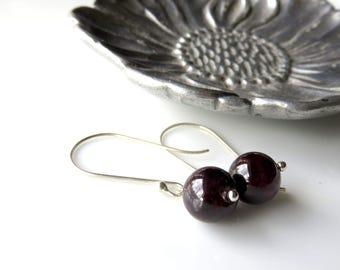 Long Red Garnet Earrings, Minimalist Jewelry with Garnet, Modern Gemstone Earrings, Silver and Red Fashion Earrings,  January Birthstone