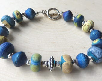 Art Inspired Bracelet, Polymer Clay, Sterling Silver Beaded Jewelry, Toggle Clasp, Handcrafted Fashion Bracelet, Blue Abstract Design