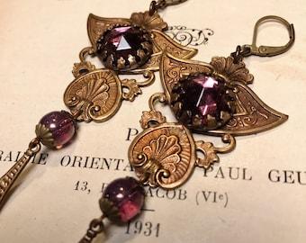 Alana Antique Brass Art Deco Vintage Inspired Chandelier Earrings in Purple