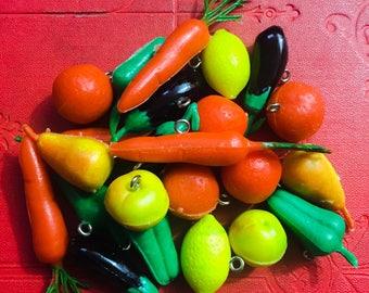 1pc TINY PRODUCE CHARM Vintage Choose Your Fruits & Vegetables