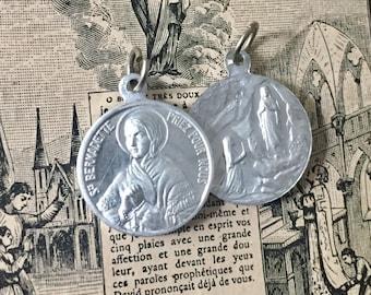 1pc SAINT BERNADETTE MEDAL Vintage French Lourdes