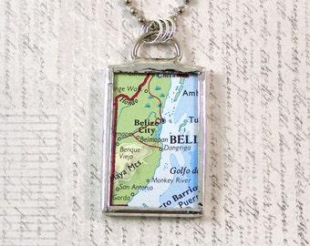 Belize Map Pendant Necklace
