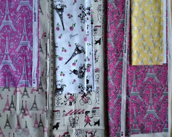 Paris France Fabric DESTASH LOT F1029 Approx. 4 Yards Pink White Yellow 1 lb. 10 oz total weight  Pls. Read Description, More Lots Available